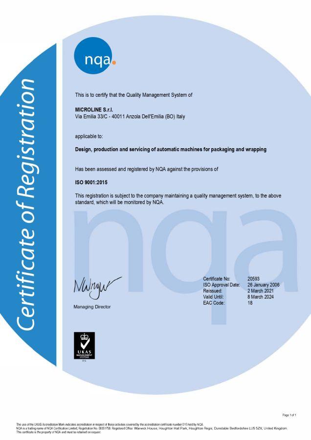 Quality Certificate MICROLINE