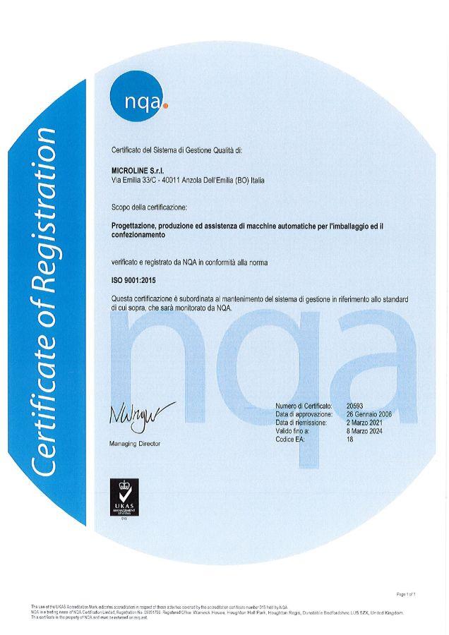 Certificato Qualità MICROLINE